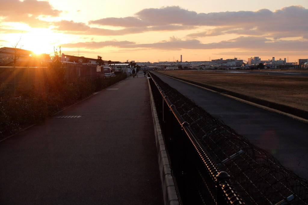 八尾空港 夕陽